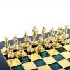 """Шахматный набор """"Греко-Римский период"""" зеленая доска 28x28 см, фигуры золото-бронза"""