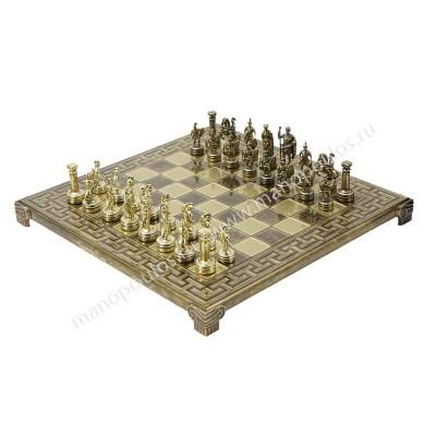 """Шахматный набор """"Греко-Римский период"""" коричневая орнамент доска 28x28 см, фигуры золото-бронза"""
