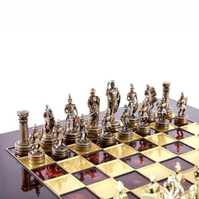 """Шахматный набор """"Греко-Римский период"""" красная доска 28x28 см, фигуры золото-бронза"""