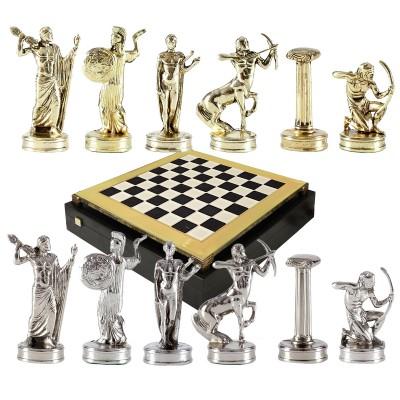 """Шахматный набор """"Подвиги Геракла"""" черно-белая доска 36x36 см, фигуры золото-серебро"""