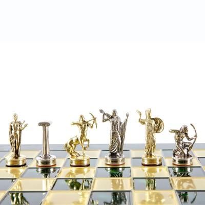 """Шахматный набор """"Подвиги Геракла"""" зеленая доска 36x36 см, фигуры золото-серебро"""