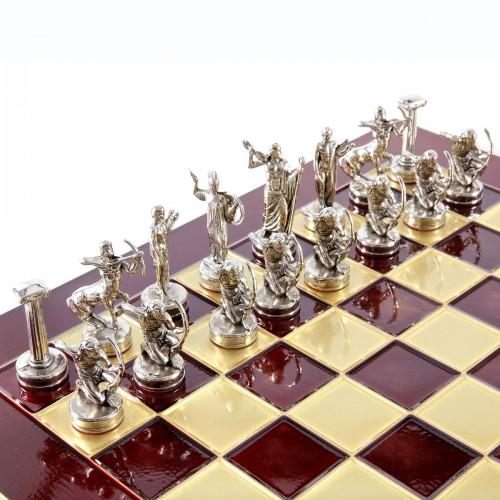 """Шахматный набор """"Подвиги Геракла"""" красная доска 36x36 см, фигуры золото-серебро"""
