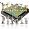 """Шахматный набор """"Подвиги Геракла"""" патиновая доска 36x36 см, фигуры золото-серебро"""