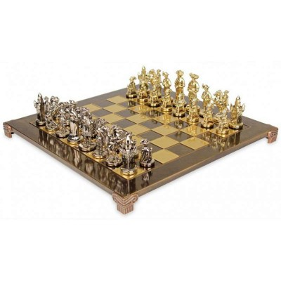 """Шахматный набор """"Рыцари Средневековья"""" коричневая доска 44x44 см, фигуры золото-серебро"""