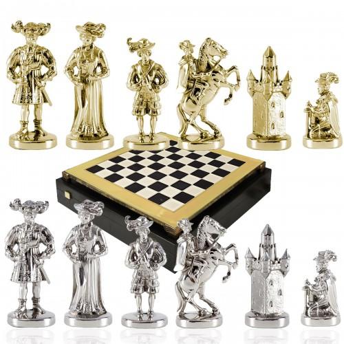 """Шахматный набор """"Рыцари Средневековья"""" черно-белая доска 44x44 см, фигуры золото-серебро"""