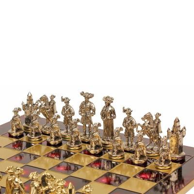 """Шахматный набор """"Рыцари Средневековья"""" красная доска 44x44 см, фигуры золото-серебро"""