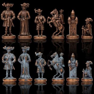 """Шахматный набор """"Рыцари Средневековья"""" синяя доска 44x44 см, фигуры бронза-патина"""