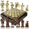 """Шахматный набор """"Рыцари Средневековья"""" коричневая доска 44x44 см, фигуры золото-бронза"""