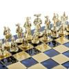 """Шахматный набор """"Рыцари Средневековья"""" синяя доска 44x44 см, фигуры золото-бронза"""