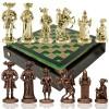 """Шахматный набор """"Рыцари Средневековья"""" зеленая доска 44x44 см, фигуры золото-бронза"""