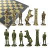 """Шахматный набор """"Великая Отечественная Война 1941-1945 г."""" металлическая доска 38x38 см, фигуры бронза-антик"""