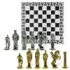 "Шахматный набор ""Александр Македонский vs Дарий III"" металлическая доска 38x38 см, фигуры золото-серебро"