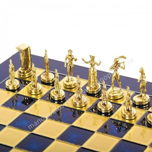"""Шахматный набор """"Минойский воин"""" синяя доска 36x36 см, фигуры золото-серебро"""