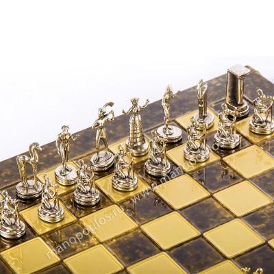 """Шахматный набор """"Минойский воин"""" коричневая доска 36x36 см, фигуры золото-серебро"""