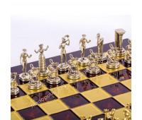 """Шахматный набор """"Минойский воин"""" красная доска 36x36 см, фигуры золото-серебро"""
