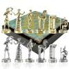 """Шахматный набор """"Минойский воин"""" патиновая доска 36x36 см, фигуры золото-серебро"""