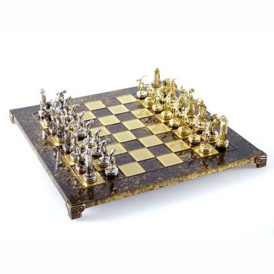 """Шахматный набор """"Олимпийские Игры"""" коричневая доска 36x36 см, фигуры золото-серебро"""