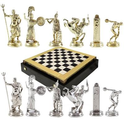 """Шахматный набор """"Олимпийские Игры"""" черно-белая доска 36x36 см, фигуры золото-серебро"""