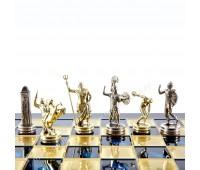 """Шахматный набор """"Олимпийские Игры"""" синяя доска 36x36 см, фигуры золото-серебро"""