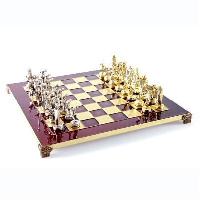 """Шахматный набор """"Олимпийские Игры"""" красная доска 36x36 см, фигуры золото-серебро"""
