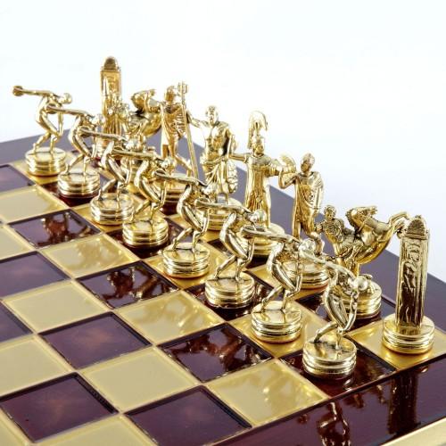 """Шахматный набор """"Олимпийские Игры"""" красная доска 36x36 см, фигуры золото-бронза"""