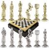 """Шахматный набор """"Ренессанс"""" черно-белая доска 36x36 см, фигуры золото-серебро"""