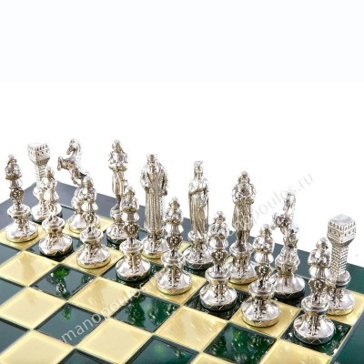 """Шахматный набор """"Ренессанс"""" зеленая доска 36x36 см, фигуры золото-серебро"""