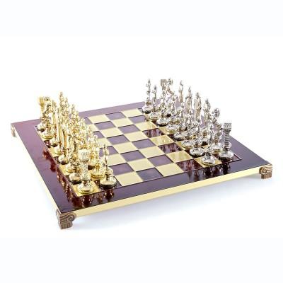"""Шахматный набор """"Ренессанс"""" красная доска 36x36 см, фигуры золото-серебро"""