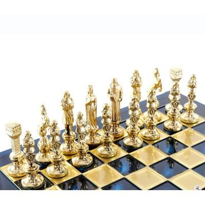 """Шахматный набор """"Ренессанс"""" синяя доска 36x36 см, фигуры золото-бронза"""