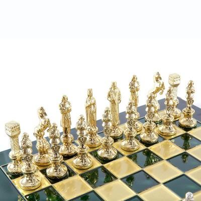 """Шахматный набор """"Ренессанс"""" зеленая доска 36x36 см, фигуры золото-бронза"""