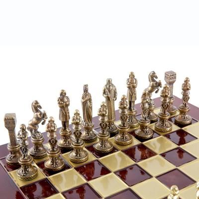 """Шахматный набор """"Ренессанс"""" красная доска 36x36 см, фигуры золото-бронза"""