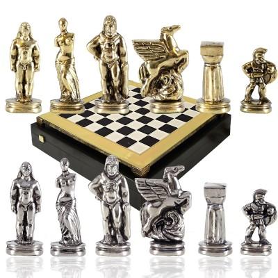 """Шахматный набор """"Древняя Спарта"""" черно-белая доска 28x28 см, фигуры золото-серебро"""