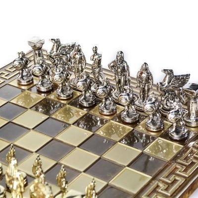 """Шахматный набор """"Древняя Спарта"""" коричневая доска 28x28 см, фигуры золото-серебро"""