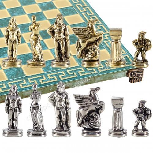"""Шахматный набор """"Древняя Спарта"""" патиновая доска 28x28 см, фигуры золото-серебро"""