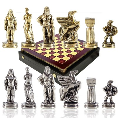 """Шахматный набор """"Древняя Спарта"""" красная доска 28x28 см, фигуры золото-серебро"""