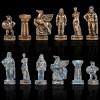 """Шахматный набор """"Древняя Спарта"""" синяя доска 28x28 см, фигуры бронза-патина"""