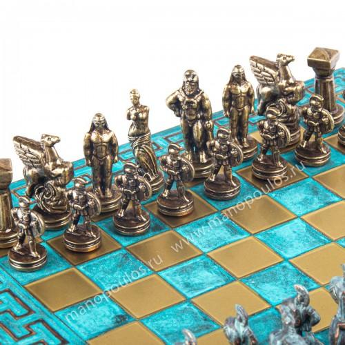 "Шахматный набор ""Древняя Спарта"" патиновая доска 28x28 см, фигуры бронза-патина"
