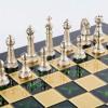 """Шахматы турнирные """"Стаунтон"""" зеленая доска 44x44 см, фигуры золото-серебро"""
