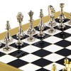 """Шахматы турнирные """"Стаунтон"""" черно-белая доска 36x36 см, фигуры золото-серебро"""
