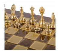 """Шахматы турнирные """"Стаунтон"""" коричневая доска 36x36 см, фигуры золото-серебро"""